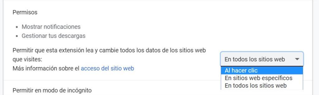 Permisos extensiones en las web en Google Chrome