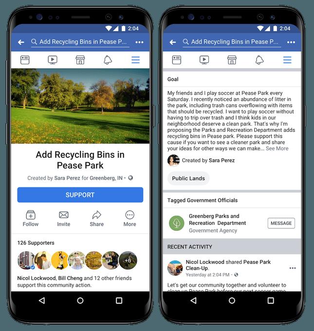 Acciones de la comunidad de Facebook