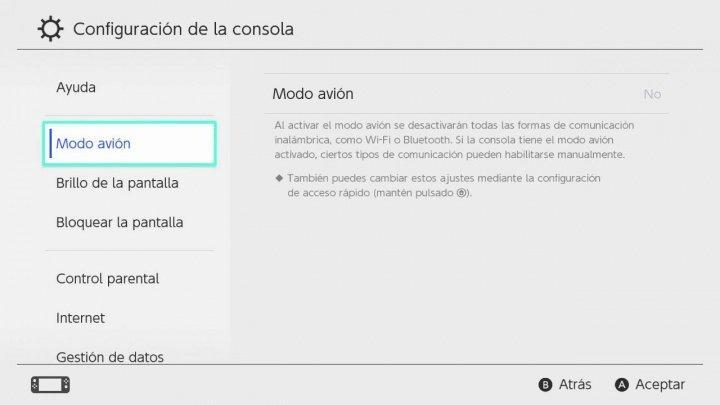Uso de Modo avión en Nintendo Switch
