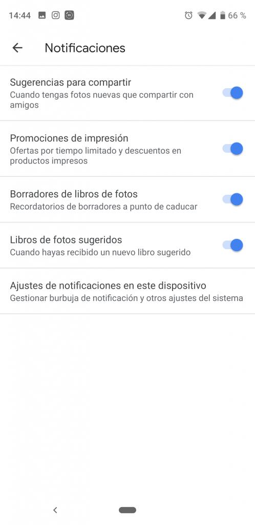 Elegir notificaciones en Google Fotos