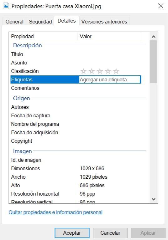 Etiquetas en Windows 10