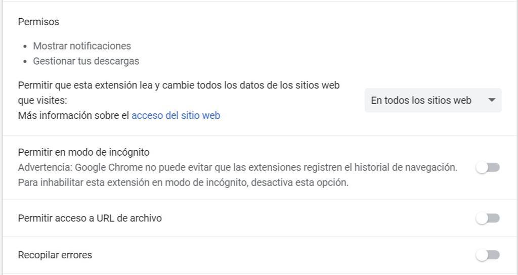 Permisos en las extensiones de Google Chrome