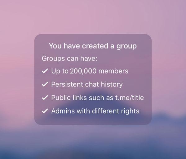 Nuevo tamaño de los grupos en Telegram 5.2