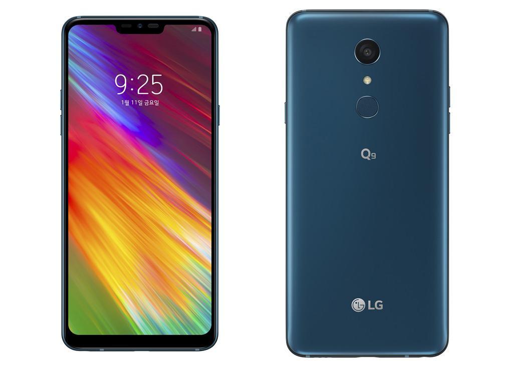 Nuevo teléfono LG Q9 de color azul