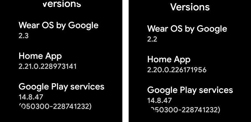 Actualización Wear OS 2.3