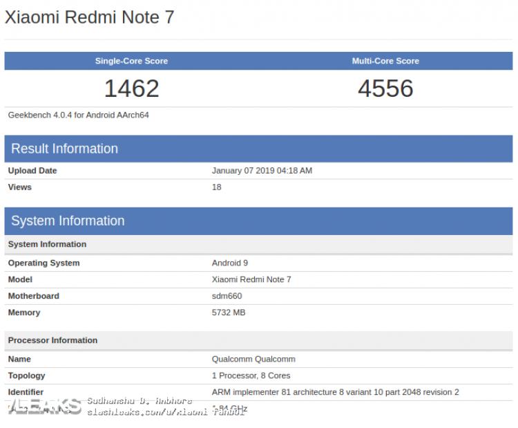 Benchmarks Xiaomi Redmi Note 7