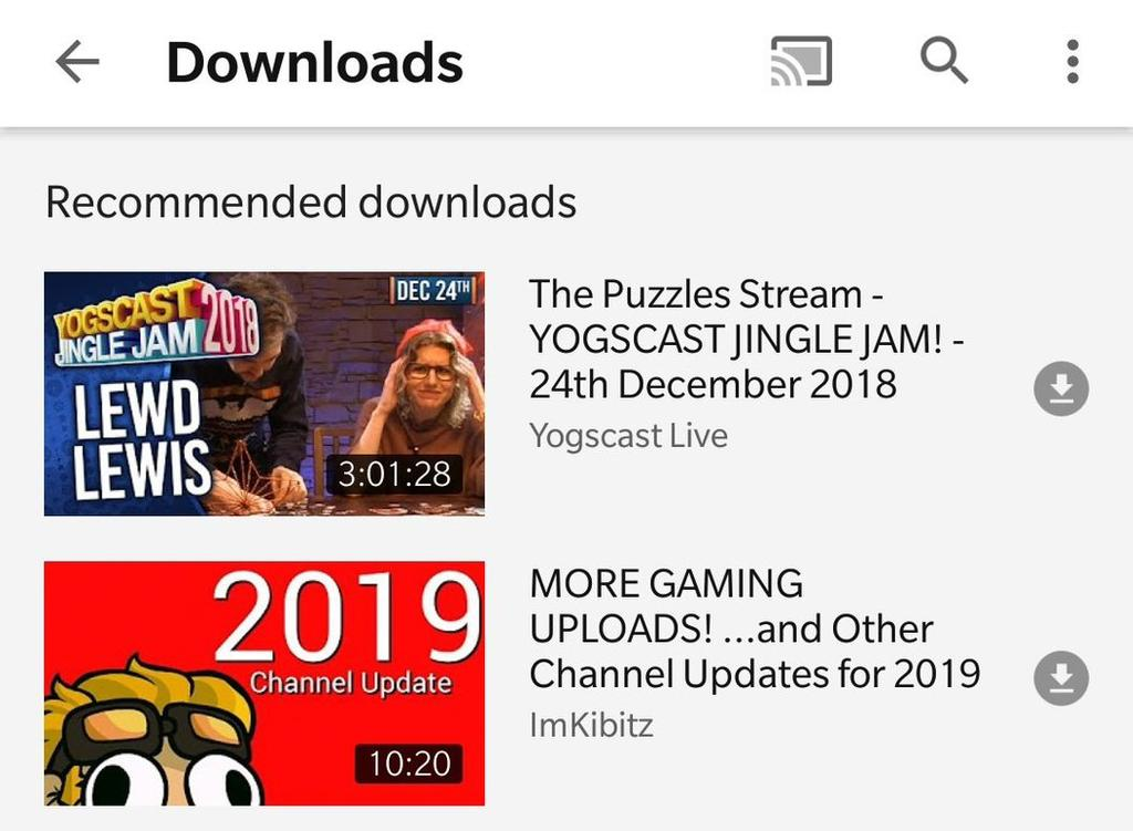 Nueva pestaña de descargas en YouTube