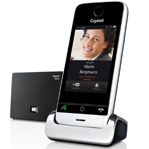 Teléfono inalámbrico con fondo blanco