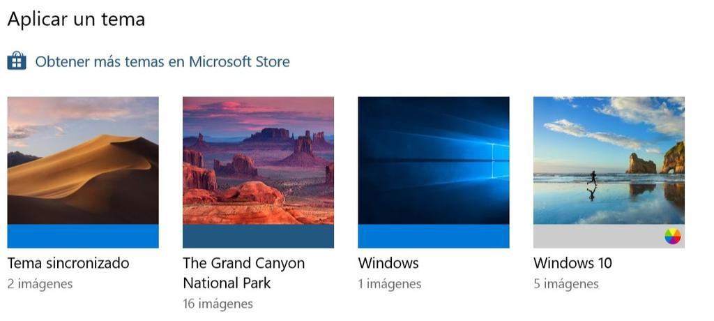 Temas instalados en Windows 10