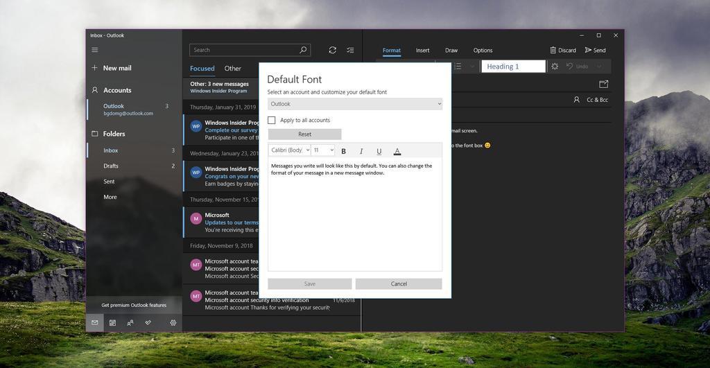 Nueva gestión de fuentes en la aplicación Correo de Windows 10