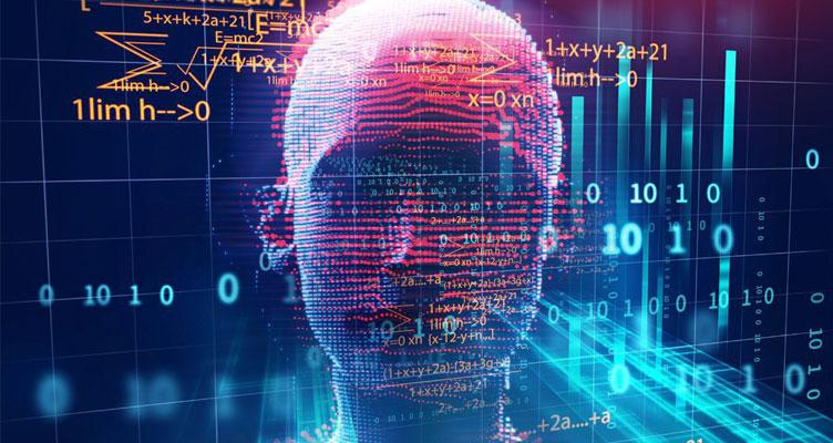 Inteligencia Artificial con cara y fondo negro