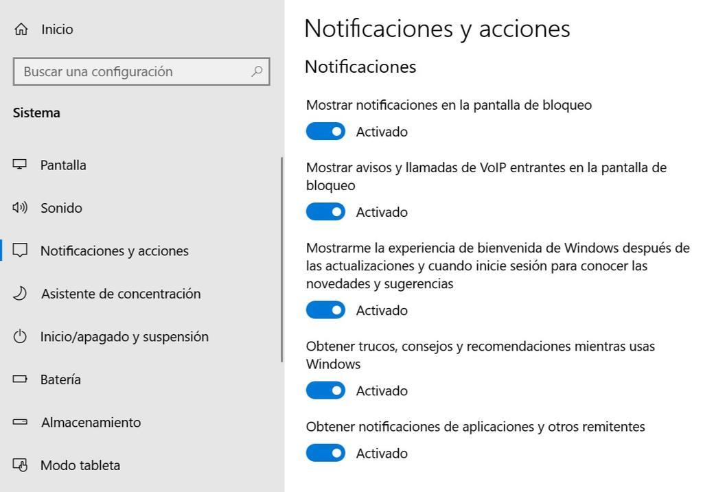 Notificaciones gestión en Windows 10
