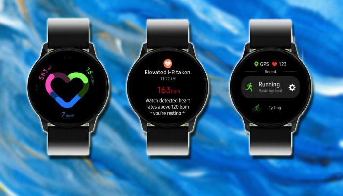 Samsung Galaxy Watch Active con fondo azul
