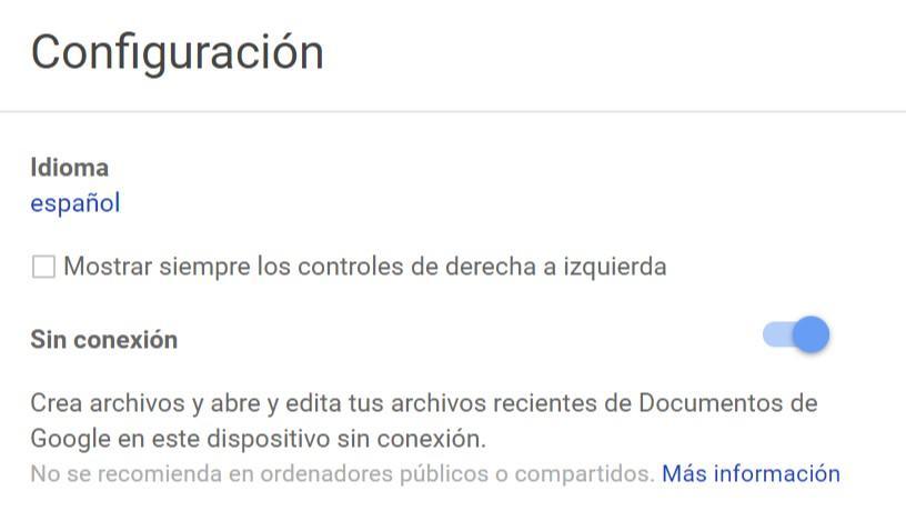 Activar Sin conexión en Google Docs