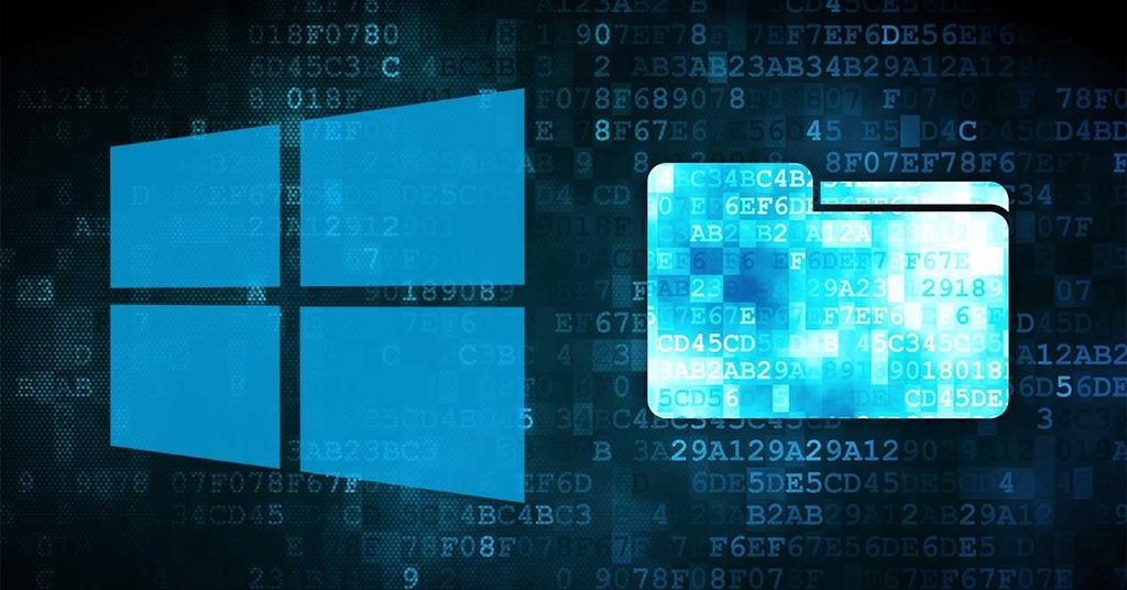 Logotipo de Windows con carpeta de almacenamiento