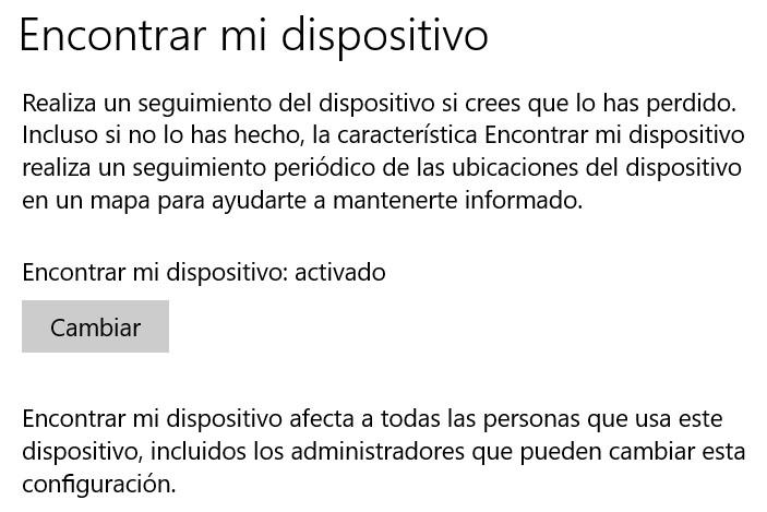 Encontrar activar mi dispositivo en Windows 10