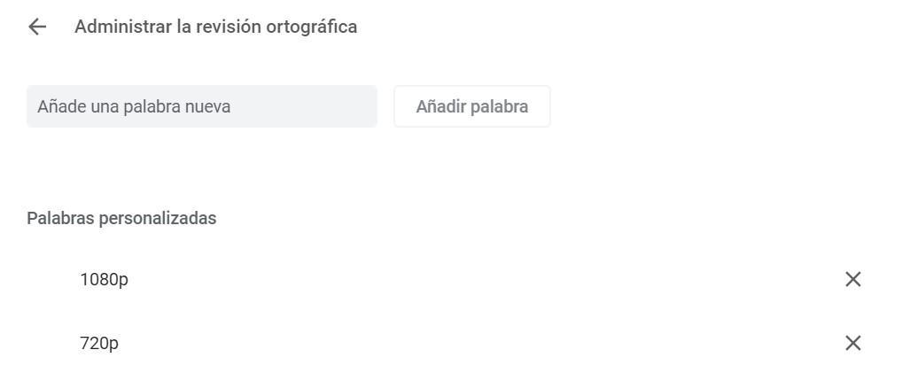 Gestión de ortografía en el navegador Google Chrome