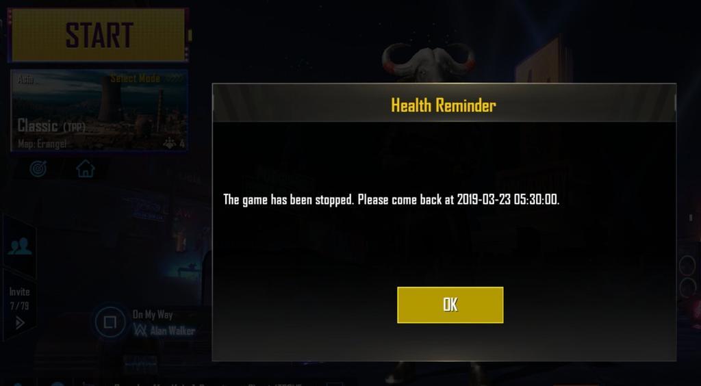 Aviso de horas de juego superadas en PUBG Mobile