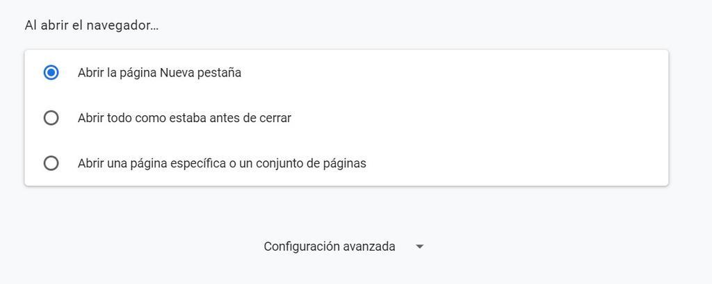 Acceso a la configuración avanzada de Google Chrome