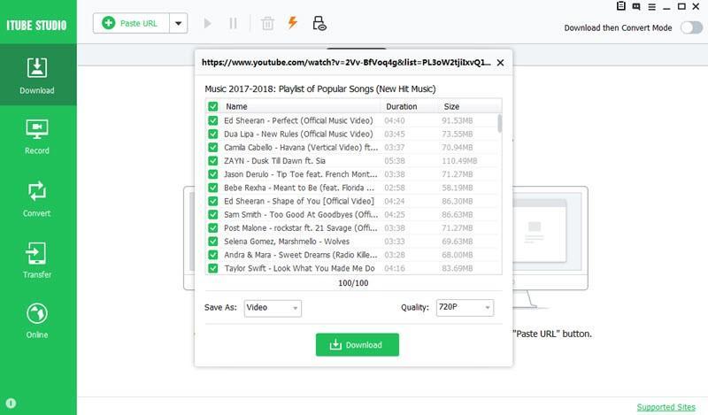 Descarga por lotes con iTube Studio