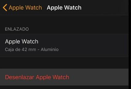 Opción desenlazar en el Apple Watch
