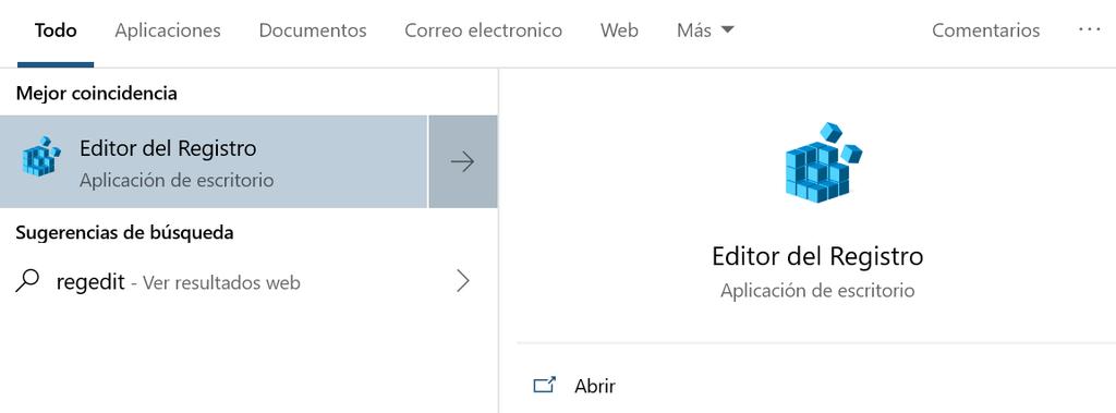 Editor de registro de Windows 10