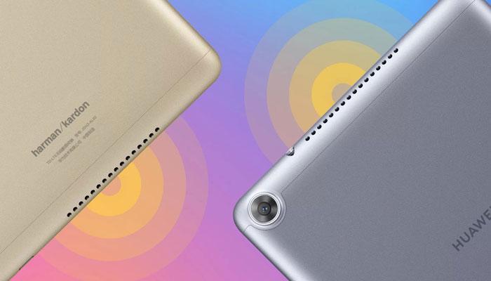 tablet Huawei MediaPad M5 Youth Edition con fondo de colores