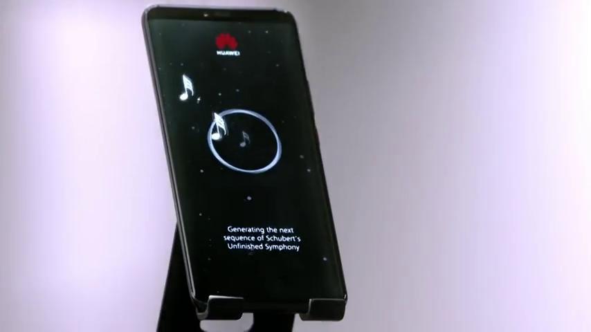 Teléfono de Huawei generando la Sinfonía Inacabada de Schubert