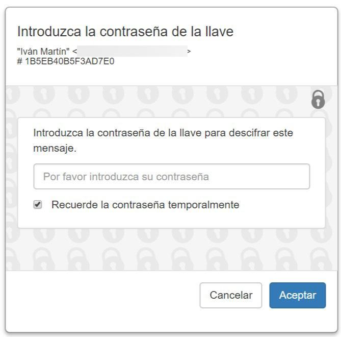 Verificar llave Mailvelope en Gmail