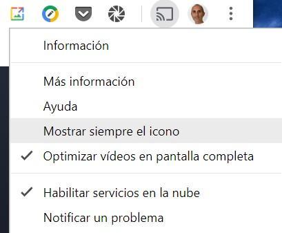 Mostrar siempre el icono de envío hacia Chromecast desde Google Chrome