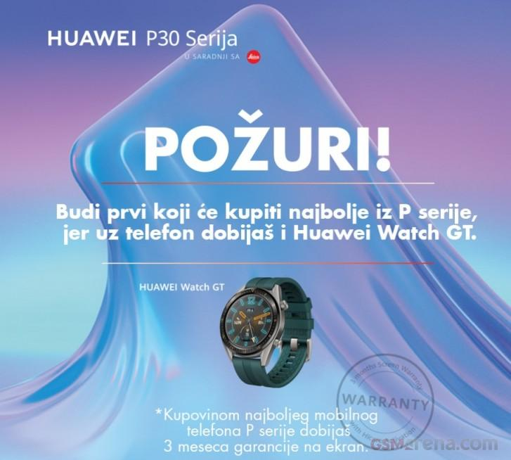 Anuncio de regalo de smartwatch con los Huawei P30