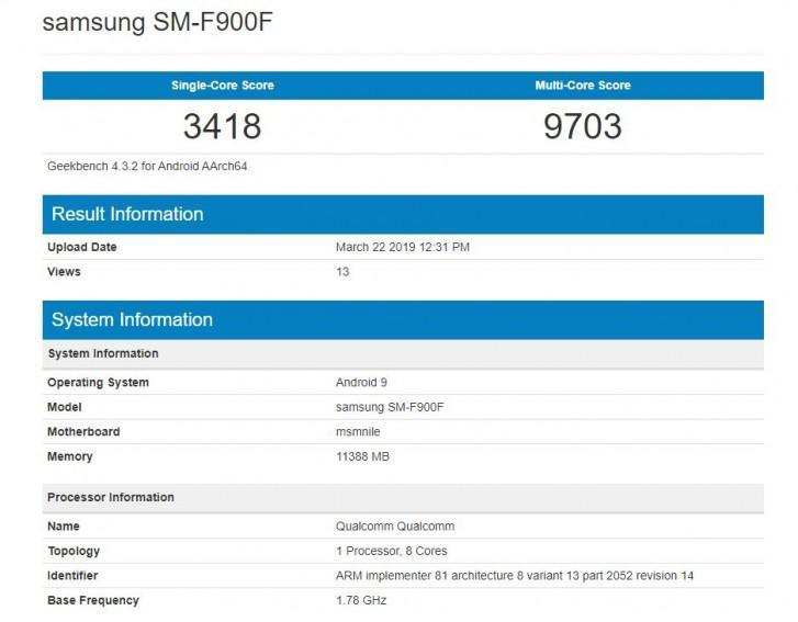 Resultados en Geekbench del Samsung Galaxy Fold