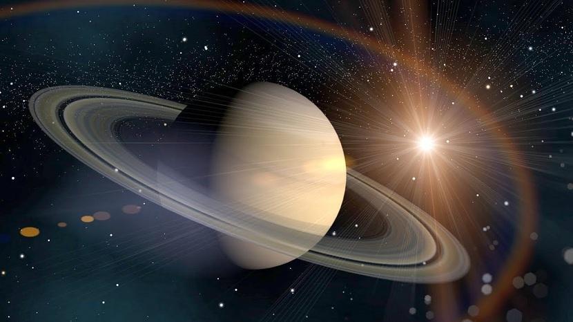 Imagen planeta Saturno con fondo de estrellas