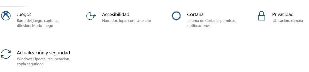 Actualización y seguridad en configuración de Windows 10