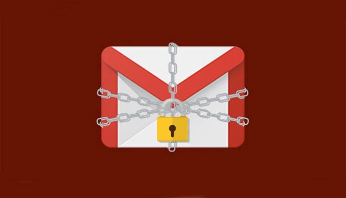 Logotipo de Gmail con candado y fondo rojo