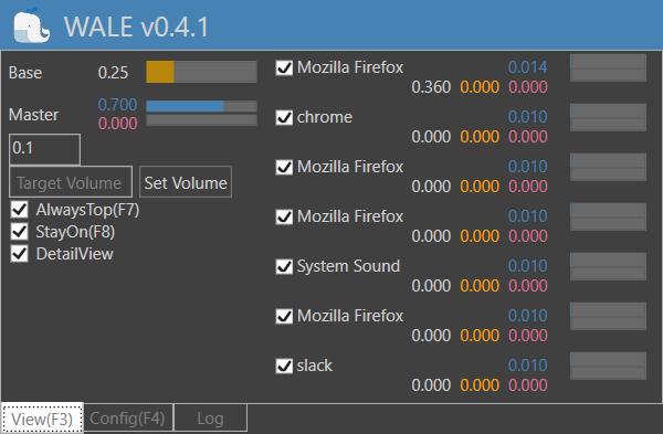Interfaz de Wale para controlar el sonido en Windows 10