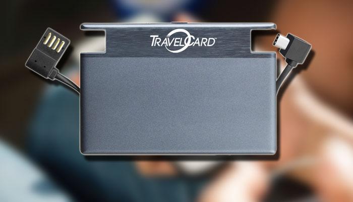 Batería externa TravelCard con fondo de teléfono