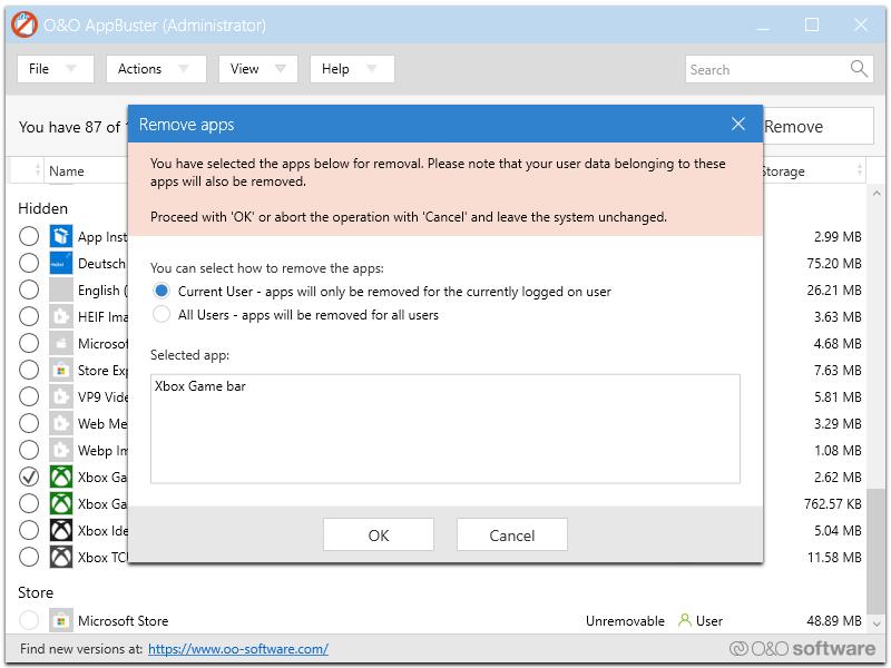 Uso de la aplicación O&O AppBuster en Windows 10