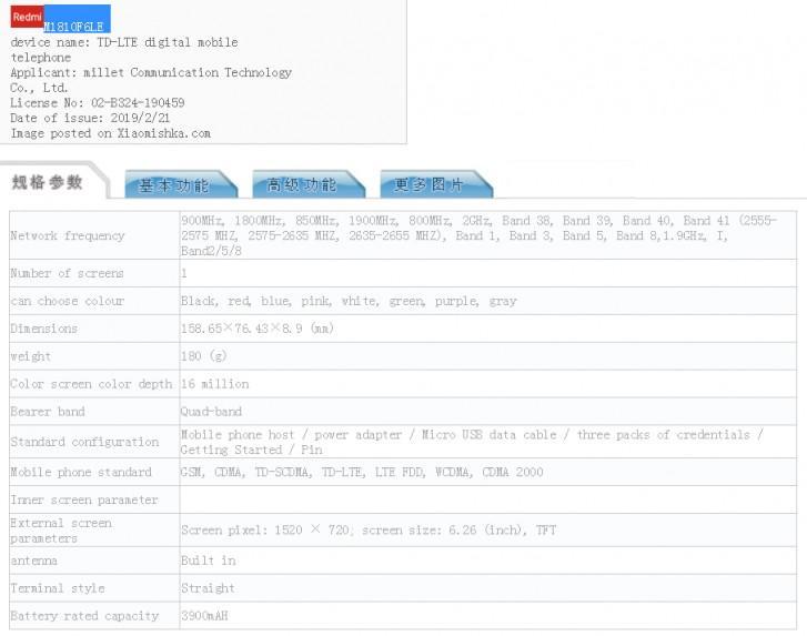 Características del Xiaomi Redmi 7 en TENAA