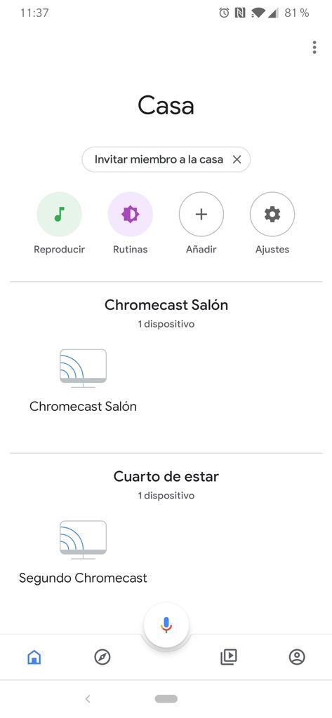 Ajustes aplicación Google Home para Google Chromecast