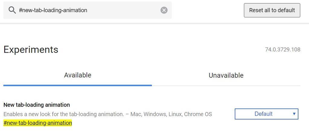Activar animación carga Google Chrome