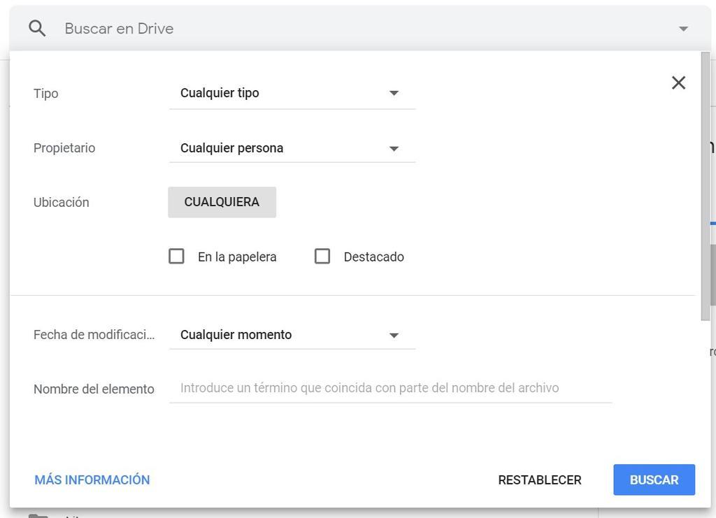Búsquedas avanzadas en Google Drive