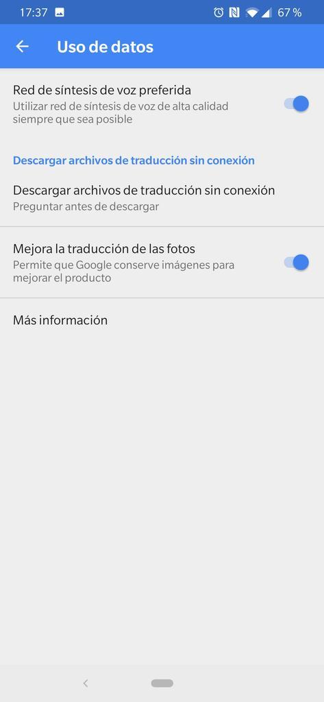 Uso de datos en los ajustes del traductor de Google