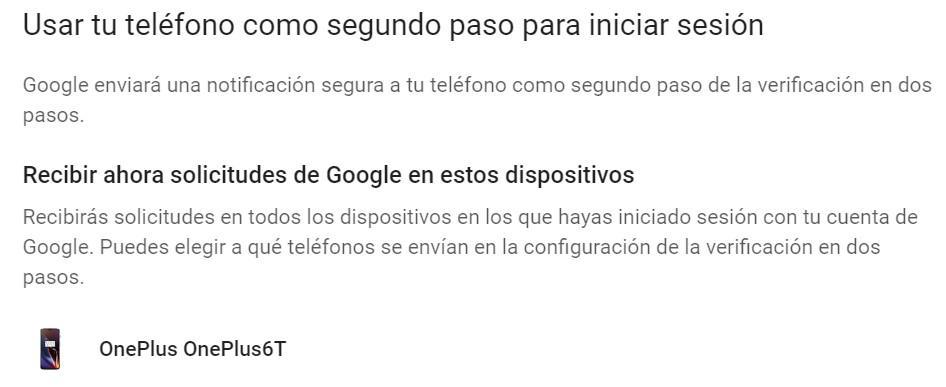 Elegir teléfono Android en verificación dos pasos Google