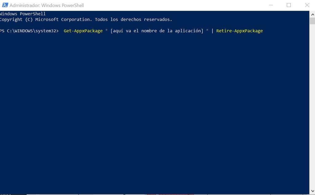 Desinstalar aplicaciones Windows PowerShell (Administrador)