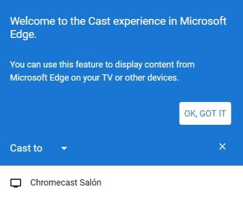 Selección de Chromecast desde Microsoft Chromium Edge