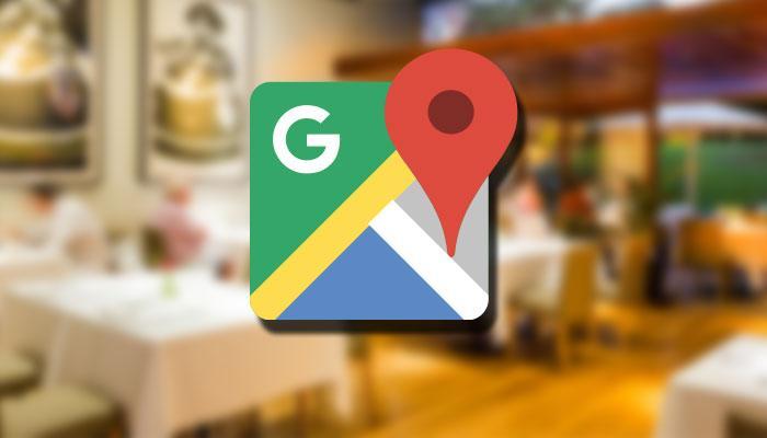 Logotipo de Google Maps con fondo de restaurante