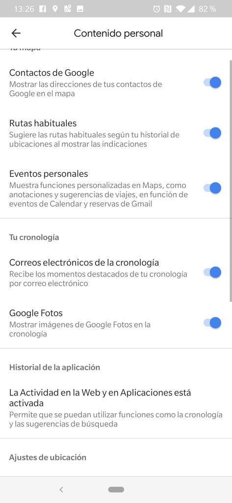 Opciones de personalización en Google Maps