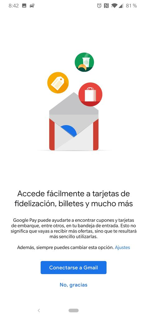 Aviso de sincronización de Google Pay con Gmail