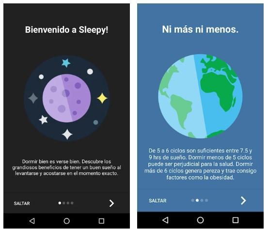Aplicación Sleepy - Ciclos de sueño